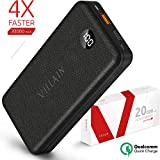 [Exclusive 2019] Portable Phone Charger 20000mAh Power Bank Quick Charge 3.0 - External Backup Battery Pack for iPhone or Android Cell Phone - Mobile Powerbank With LED Display and Qualcomm Technology