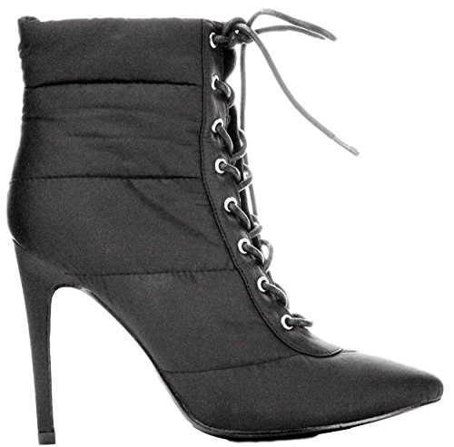 Pointy Toe Bootie - Cape Robbin Gigi-135 Ankle High Lace Up Pointed Pointy Toe Puffer Booties Boots Black 11
