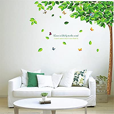 Green Tree Butterfly Wall Sticker Home Decor Mural Art Wallpaper Decal Bedroom living room Removable