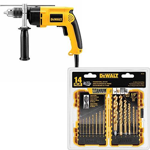 DeWalt DW511 1/2 inch VSR Hammerdrill w/DW1354 14-Piece Titanium Drill Bit Set