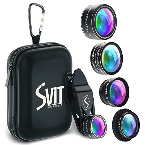 SVIT Phone Camera Lens Kit - 5 in 1 Optical Glass Mobile Attachment Set - 2X Zoom Telephoto, 198 Fisheye, 0.63X Wide Angle, 15X Macro, CPL Filter and Universal Clip Adapter for Cell Phones and Tablets