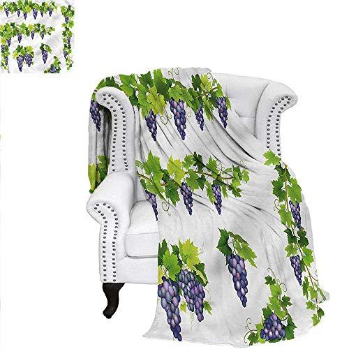 RenteriaDecor Vine Blanket Green Leaf Cluster of Berries Blanket 62