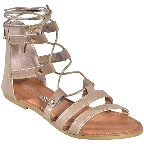 Steven Sandals Toe Open (Women's Lace up Ankle Tie Open Toe Strappy Roman Gladiator Flat Sandals BGE 5.5)