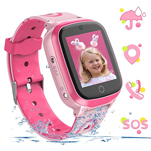 YENISEY Kids Smart Watch Waterproof GPS+WiFi Tracker for 3-12 Year Girls Boys,with SOS HD Touch Screen Two Way Call Phone Voice Chat Games Camera Alarm Clock Birthday Gifts Toys for Children (Pink)