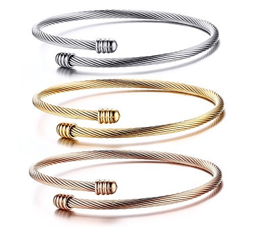 - HUANIAN Stainless Steel Triple 3 Stackable Cable Wire Twisted Cuff Bangle Bracelet for Women, Gold/rose /silver