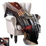 """WinfreyDecor Modern Reversible Blanket House with Snooker Table Hobby Pool Game Flat Furniture Leisure Time Print Bedroom Warm 36"""" Wx60 L Red Brown White"""