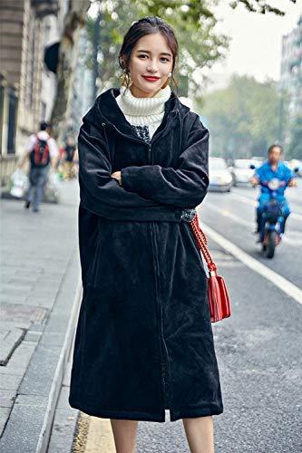 Donna Manica Con Cappotto Velluto Fashion Eleganti Lunga Autunno Invernali Cappuccio Giaccone Cerniera Casual Vintage Schwarz Giacca Outerwear Calda Outdoor Baggy zdndxw
