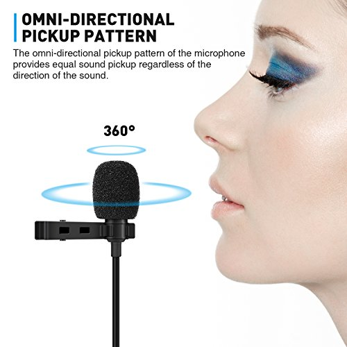 TONOR Lavalier Microphone, Lapel Interview Omnidirectional Condenser Shirt Mic with 2m Extended Wire for iPhone, Android, Other Smartphones and Camera, Perfect for Interview/Youtube/Video Recording by TONOR (Image #1)