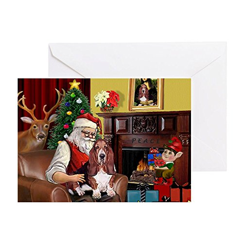 CafePress - Santa's Basset Hound - Greeting Card (20-pack), Note Card with Blank Inside, Birthday Card Glossy ()