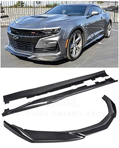 For 2019-Present Chevrolet Camaro SS   ZL1 Style Front Bumper Lip Splitter With Side Skirts Rocker Panel Pair (Carbon Fiber) ()