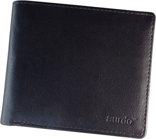 AurDo RFID Blocking Extra Capacity Multi Card Trifold Bifold Mens Wallet With ID Window (Premium Nappa Black)