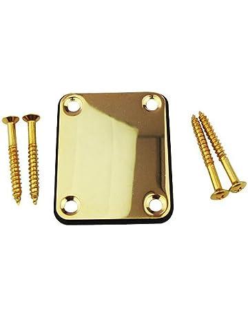 Placa para cuello con 4 tornillos de repuesto para Fender Stratocaster Guitarra eléctrica, dorado