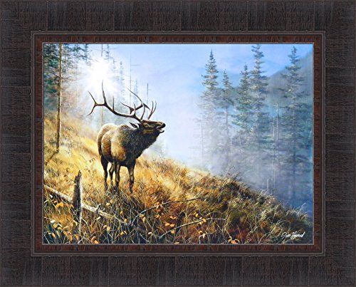 Song In The Mist by Jim Hansel 17x21 Bull Elk Framed Art Print Wall Décor Picture