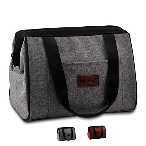 Mozing Lunch Box,Insulated Lunch Bag for Women Large Reusable Lunch Tote Bags for Adults Kids, Gray ()