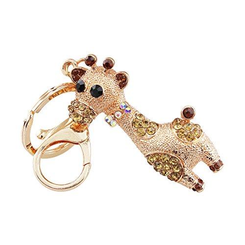 (FOY-MALL Cute Deer Rhinestone Alloy Couple Bag Keychain Car Key Ring H1054)
