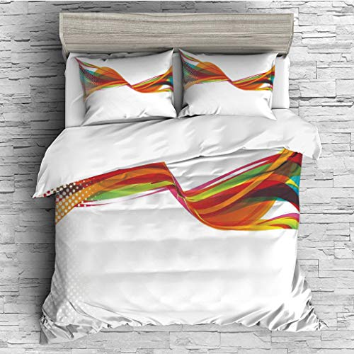 ver 2 Pillow Shams)/All Seasons/Home Comforter Bedding Sets Duvet Cover Sets for Adult Kids/Double/Abstract,Rainbow Curved Wave Smoke like Image with Pixel Style Detailed Work of A ()