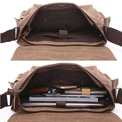 BAOSHA MS-10 Vintage Bolsa de Mensajero de Hombres de Lona de Cuero Bolsos Bandolera Satchel Bolsos Cruzados Maletín Bolsas para Ordenador Portátil de 13 ~ 13.3 pulgadas portátiles Notebooks (Café) Gris (14 ~ 15,6 pulgadas)