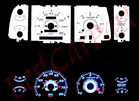 BLACK Indiglo Gauge Kit Glow BLUE Reverse for 97 98 Ford F-150 F150 w//o Tach RPM