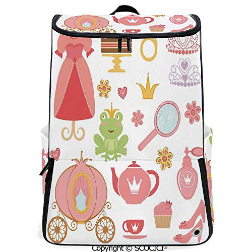 (SCOCICI Laptop Backpack,Princess Tiara Tea Party Mirror Teapot Tea Party Frog Crown Fairy Cupcake Girls Decorative,Customizable Multicolor for Men & Women Sport Daypack)