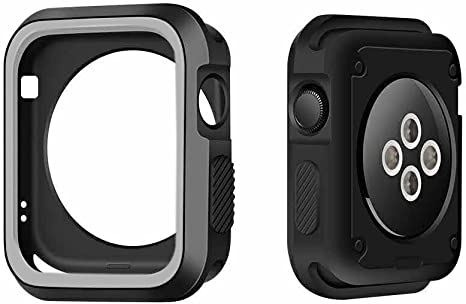 Imagen deCorrea Apple Watch Funda 42mm Pulsera iWatch de Reemplazo Ajustable, Banda y Carcasa Silicona para Reloj Apple, Brazalete y Funda Deportiva para Apple Watch Series 1 / 2 / 3 (1# Funda negra y gris)
