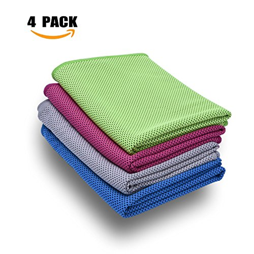 Air Mesh Hockey Jersey (Cooling Towel, 4 Pack,Stay Cool for Travel Camping Golf Football & Outdoor Sports, Instant Cooling Relief & Ice Cold Quickly, Enduracool Towels for Neck & Head)