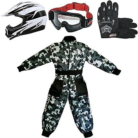 Leopard LEO-X16 Negro Casco de Motocross para Niños (M 51-52cm) + Gafas + Guantes (M 6cm) + Camo Traje de Motocross para Niños - S (5-6 Años)