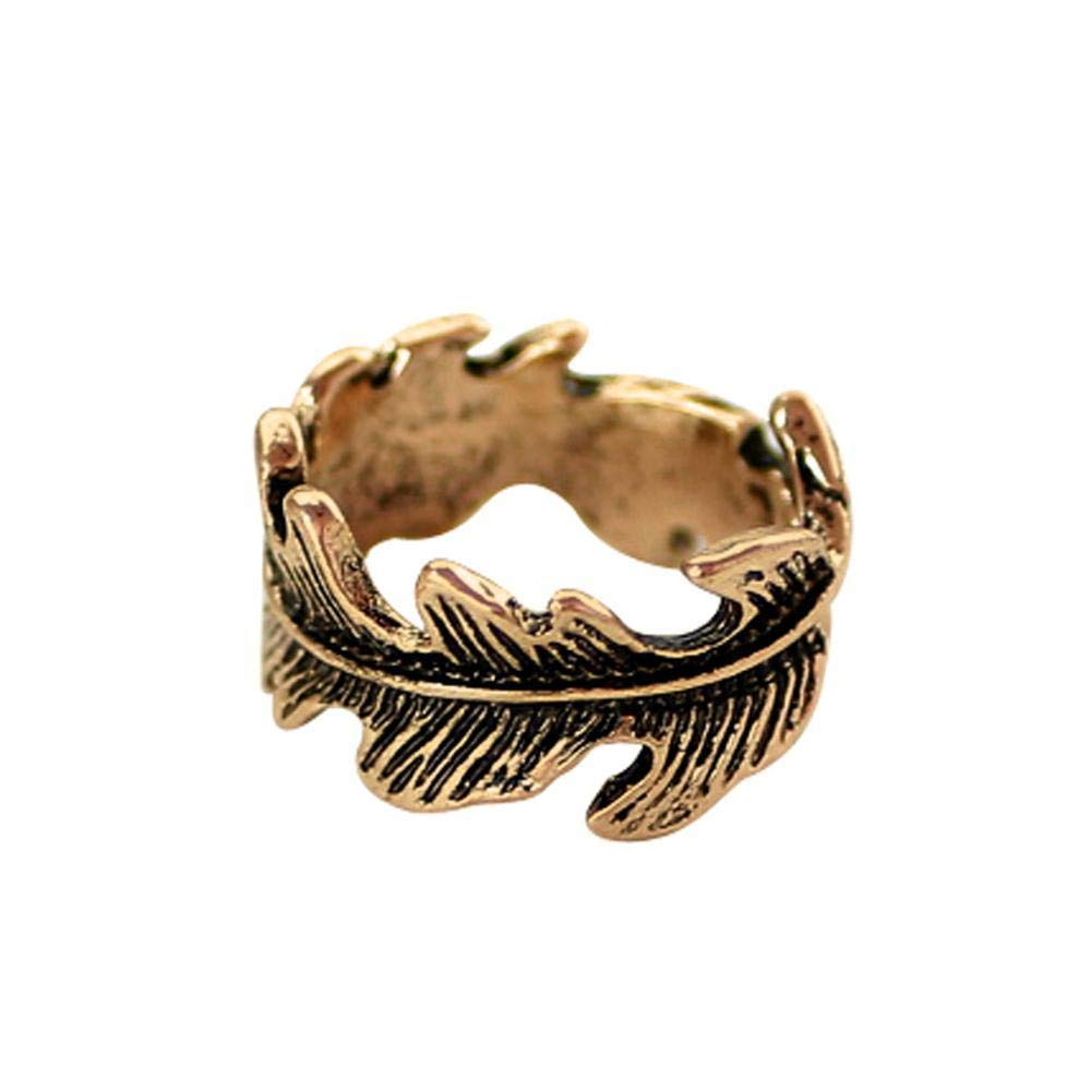 Dixinla Rings Djustable, Feather Alloy Ring Men Women General Openings Anti-Allergy Ring Birthday Gifts to Friends Relatives