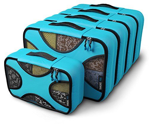 Shacke Pak - 5 Set Medium/Small Packing Cubes - Travel Organizers (Aqua Teal)