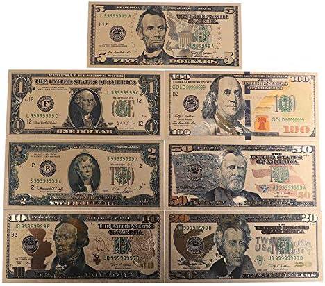 HENGTONGTONGXUN 7PCS /設定24Kレプリカゴールドメッキ土産ホームデコレーション現実的な紙幣ドルアンティークメッキ記念ノートプラスチック 使いやすい (色 : A)