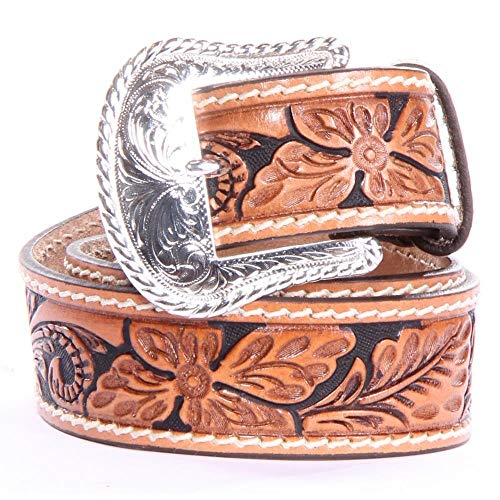 Tony Lama Men's Floral Tooled Leather Belt Reg And Big Tan 34