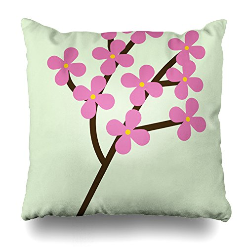 Olive Branch Brown Glass (Decorativepillows 20 x 20 inch Throw Pillow Covers,Pink Flowers Brown Branch Light Green Background Pattern Double-sided Decorative Home Decor Indoor/Outdoor Garden Sofa Bedroom Car Kitchen Nice Gift)