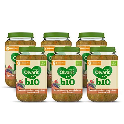 Olvarit BIO Groentenmix, Rundvlees, Aardappel 6+ maanden babymaaltijd – 6x 200 gram