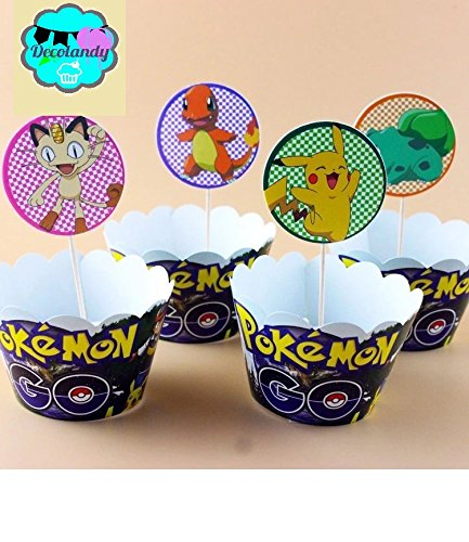 Decolandy 12 sets Pokemon Go Cupcake toppers and wrappers,Pokemon Pikachu Cupcake wrappers and toppers pokemon cupcake
