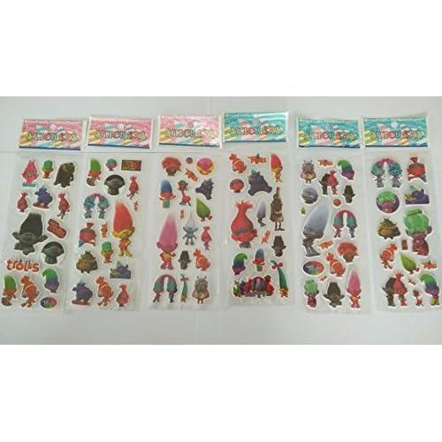 By channeltoys - Lot de 3pcs Stickers / Autocollants aléatoires Trolls - Branche King Peppy Creek Dj Suki Poppy Guy diamant - Stickers 3d Trolls décoratifs cahier maison mur - Neuf