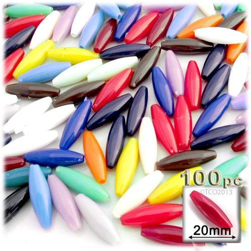 The Crafts Outlet 100-Piece Plastic Opaque Spaghetti Beads, 20mm, Multi Mix