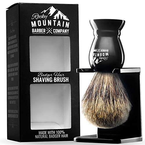 Shaving Brush with Stand - Rocky Mountain Barber Pure 100% Best Badger Hair Barber Grade with Black Heavy Duty All-Resin Handle and Oversized Bristle Head For Better Shaving Cream - Set Bristle Shaving