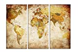 YPY 3 Panels World Map Prints on Retro Color Canvas Painting Office Library Reading Room Wall Decoration Wooden Framed Ready to Hang for Home Decor