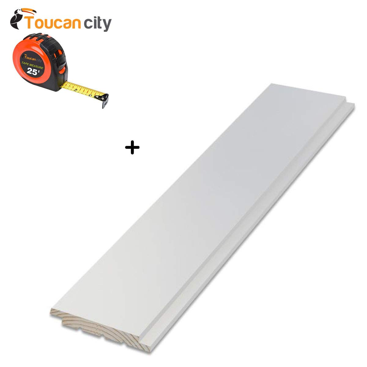 Toucan CityテープメジャーとArauco 9 / 16 in。x 5 – 1 / 4インチx 8 ft。Primed Pineニッケルギャップ出荷Lapボード(6個入りperボックス) 28994 B07G71986X