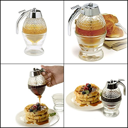 Vintage Costume Jewellery New Zealand (Norpro Honey Syrup Jar 1 Cup Dispenser Pot Glass Bee Hive with Trigger Stand NEW)