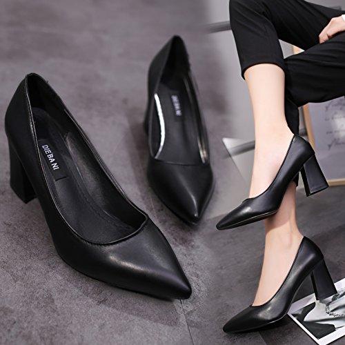 Qiqi tacco spessore Wild con 38 tacco con nero nero caramello femminile Xue alto punta scarpe professionale scarpe dxq0gpd