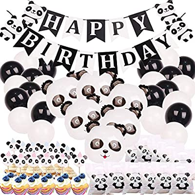 Panda Party Decorations Supplies Happy Birthday Banner Mylar
