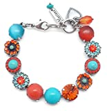 Mariana Serengetti Swarovski Crystal Silvertone Bracelet Orange Aqua Flower Mosaic M1079