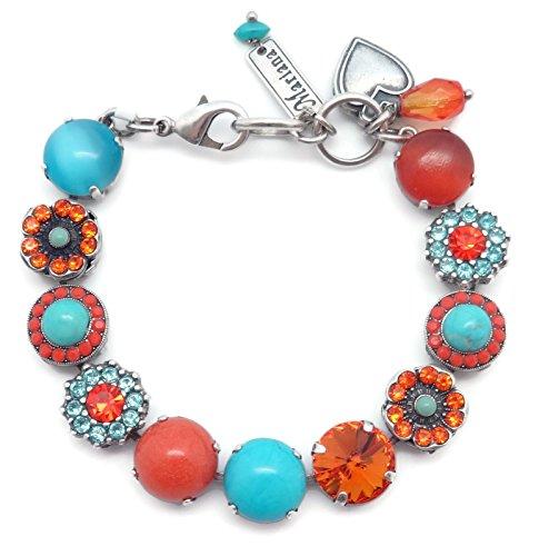 Mariana Serengetti Swarovski Crystal Silvertone Bracelet Orange Aqua Flower Mosaic M1079 by Mariana