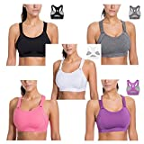 JINTANG Women's Front Adjustable Lightly Padded Racerback Plus-Size High Impact Sports Bra Wire Free Molded Cup Racerback