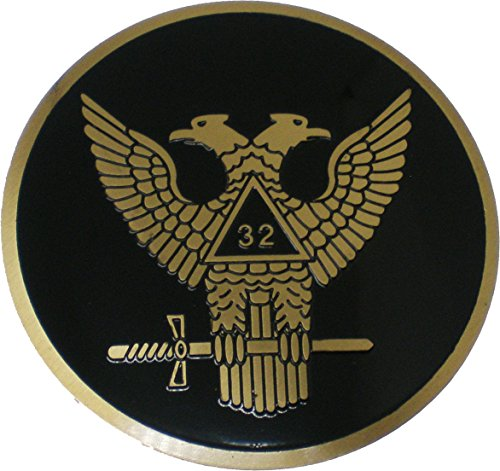 Wings Up (Scottish Rite 32nd Degree Wings Up Etched Round Car Emblem [Black - 2.75