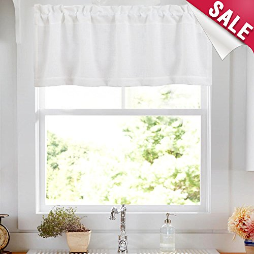 Valance Rod Pocket for Kitchen Semi Sheer Valance Curtains Casual Weave Textured Cafe Valance for Bathroom 18 inches, 1 Panel,W50xL18|Panel, Thick,White