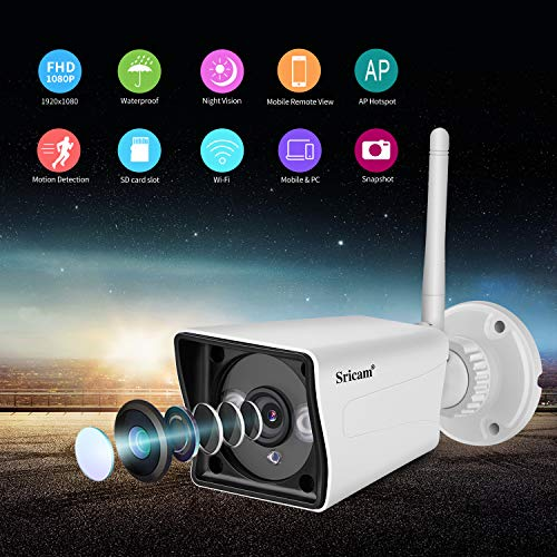 Sricam Outdoor WiFi Security Camera 1080P HD Surveillance System Wireless Camera, Weatherproof IR LED Night Vision, Motion Detection Home Video Support iOS, Android Compatibility