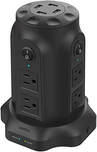Umirro 8 – Outlet Surge Protector Power Strip with 4 USB Charging Ports, 2100 Joules Surge Protection, 7.2A and 6 Heavy Duty Extension Cord, Black