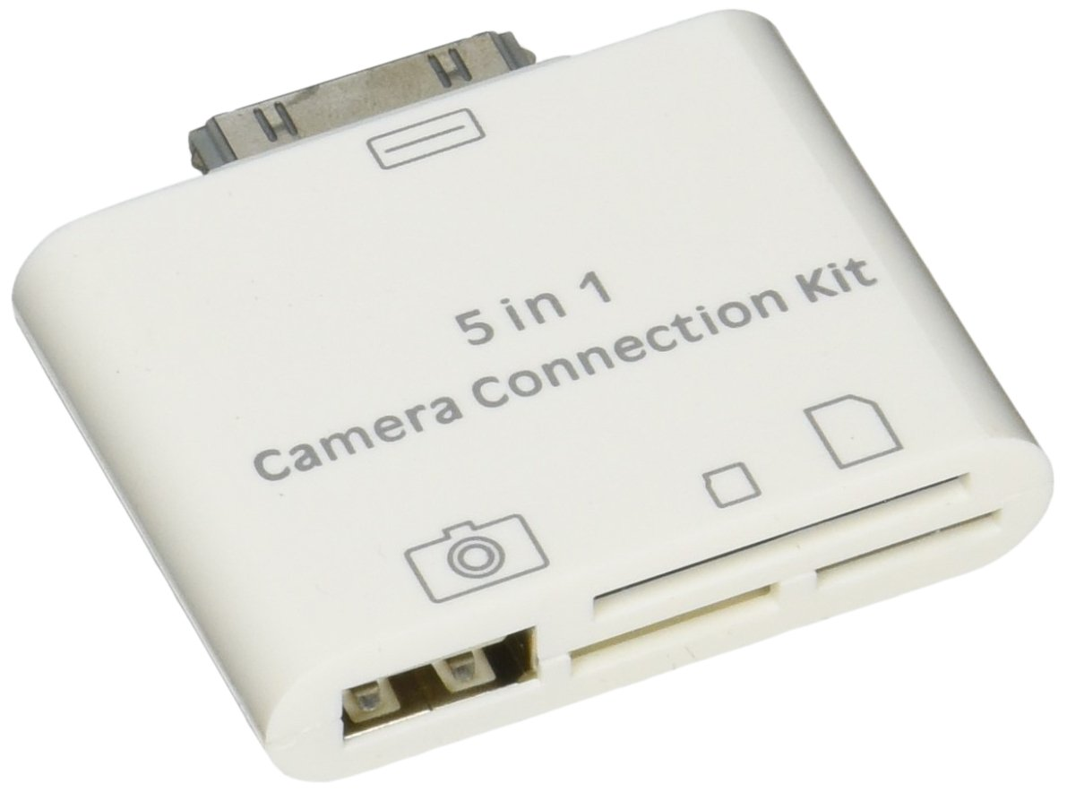 SANOXY 5 in 1 Camera Connection Kit for Apple iPad ( USB 2.0, SD Card Slot, Micro SD card Slot, Sync data & charge, AV output )