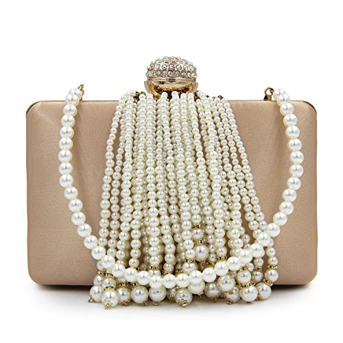 Evening Ladies rose Beaded Clutches Women Female KYS Purses Tassel Fashion Bags Purse Day Wedding red xq8OIOnwC